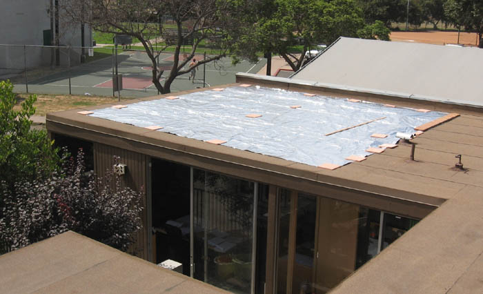 Large custom 22u0027 x 24u0027 CoolTarp temporarily installed over an office space for tests & CoolTarpLg-22-24ft-8-08-sml.jpg